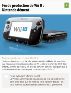 Fin de production de la WiiU ? - JeuxVideo.com, mars2016