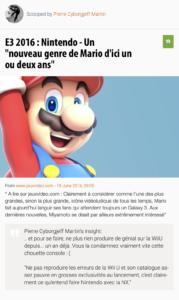 """E3 2016 : Nintendo - Un """"nouveau genre de Mario d'ici un ou deux ans"""""""
