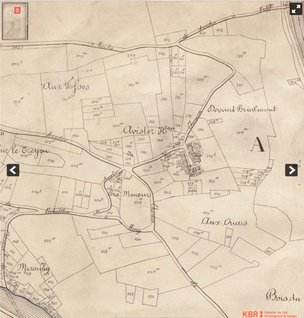 Plan parcellaire d'Avister 1842-1870 - KBR