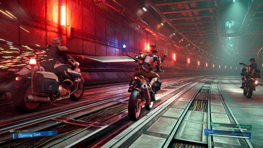 La course poursuite en moto, FFVII REmake 2020