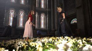 Rencontre avec Aerith dans l'église, FFVII REmake 2020