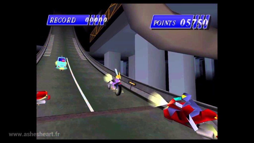 La course poursuite en moto, FFVII 1997