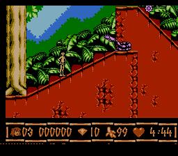 104968 Disney S The Jungle Book Nes Screenshot Level 1aDisney's The Jungle Book - NES (VIrgin - Eurocom, 1994)