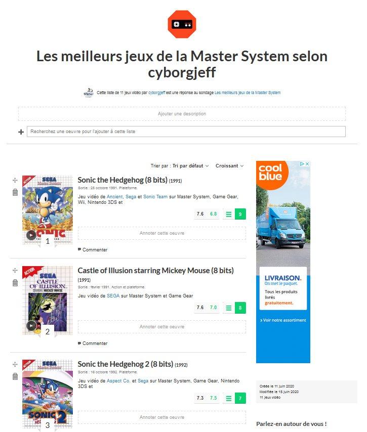 Les meilleurs jeux de la Master System selon cyborgjeff