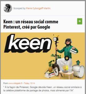 Keen : un réseau social comme Pinterest, créé par Google