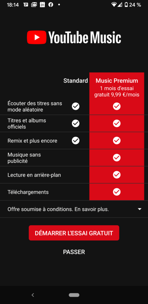 Mode Gratuit / Mode Payant sur Youtube Music