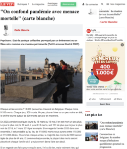 """On confond pandémie avec menace mortelle"" (carte blanche)"