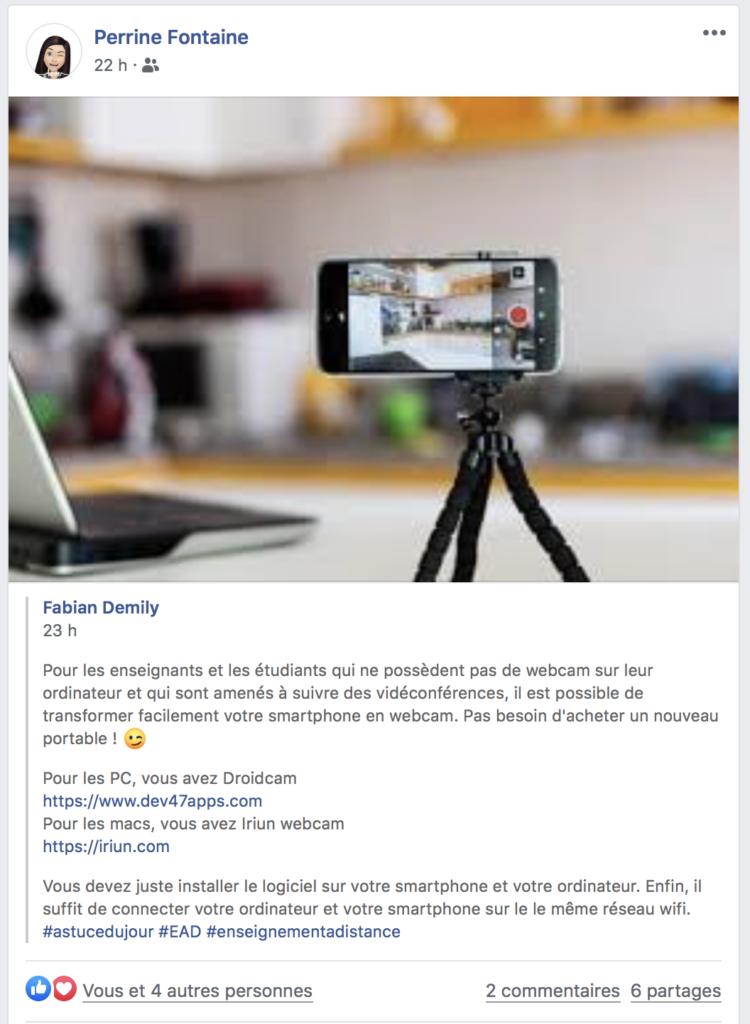 Fabian Demily : Pour les enseignants et les étudiants qui ne possèdent pas de webcam sur leur ordinateur et qui sont amenés à suivre des vidéconférences, il est possible de transformer facilement votre smartphone en webcam. Pas besoin d'acheter un nouveau portable !