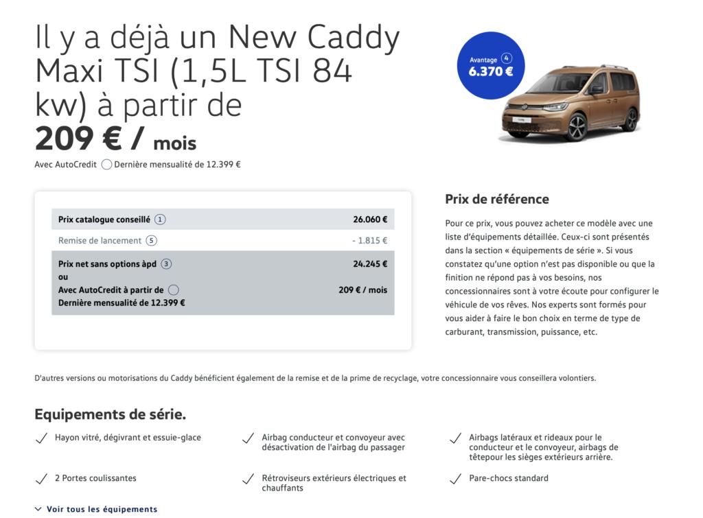 Offre sur le Caddy Maxi 2021