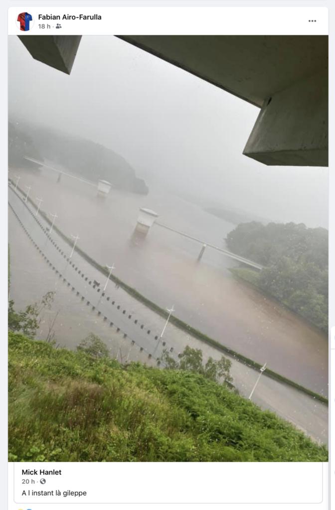Photo du barrage de la Gileppe le 14 juillet partagée par Mick Hanlet
