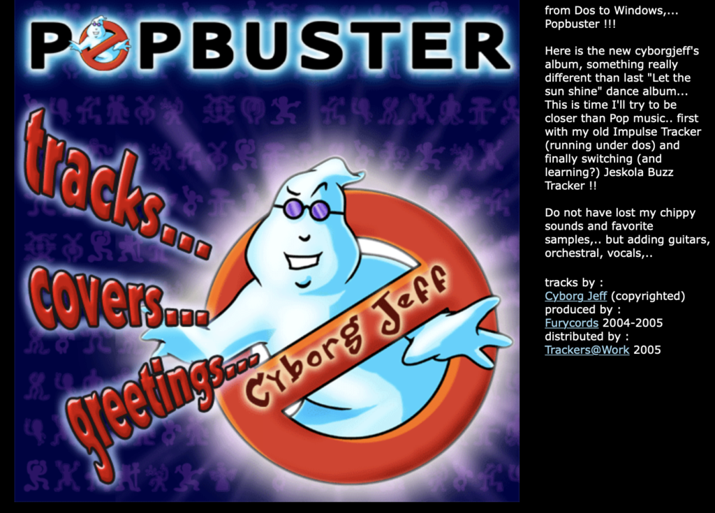 """Le site web de l'album """"Cyborg Jeff - Popbuster"""""""